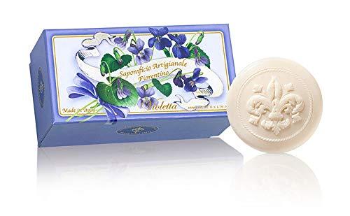 Violetta, Confezione regalo 6 saponette ospite, lavorazione artigianale, rotonde scolpite con giglio a riliervo, 6 x 50 g