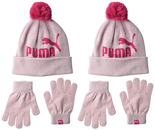 PUMA Kids' Toddler Evercat Beanie and Glove Set, Pink Combo, Youth Size