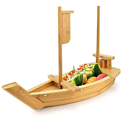 ZIFON Bandeja de madera para servir de barco de sushi japonés Sashimi Service Ship Tray Plato de comida Plato de sushi para restaurante o hogar Bandeja de sushi de gran tamaño