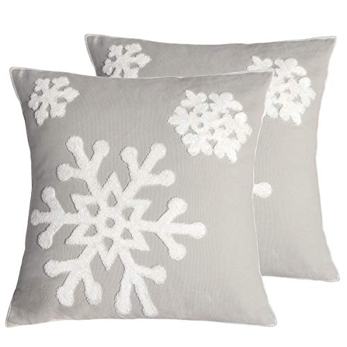 Afirmly 18x18,Cotton Christmas Blessing Throw Pillow Cover for Bed Sofa Cushion Car Snowflake Embroideried Pillowcases,1pair Grey