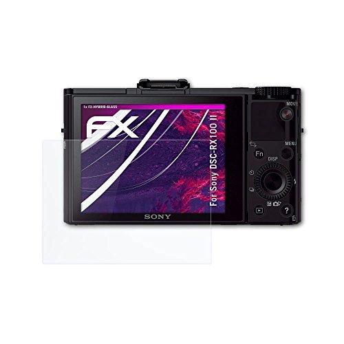atFoliX Glasfolie kompatibel mit Sony DSC-RX100 II Panzerfolie, 9H Hybrid-Glass FX Schutzpanzer Folie