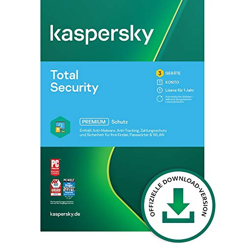 Kaspersky Total Security 2021 Standard | 3 Geräte | 1 Jahr | Windows/Mac/Android | Aktivierungscode per Email