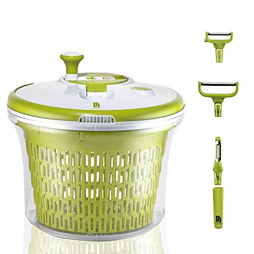 DJ Centrifugador de ensalada de 5 litros, innovadora función de manivela y parada, incluye 3 cuencos de verduras