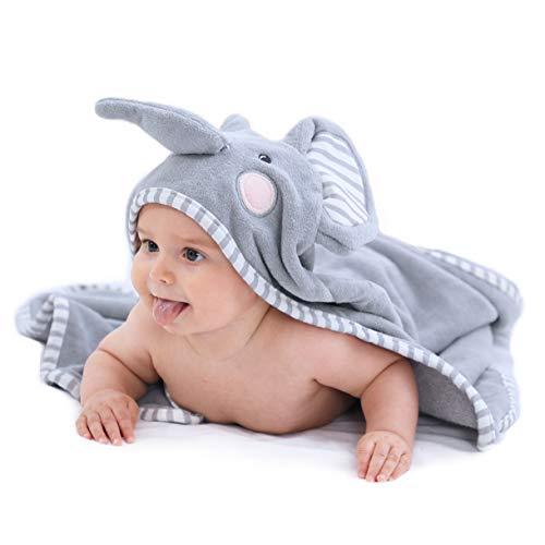 TBEZY Cape de Bain Bébé à Capuche, Coton Sortie de Bain Bébé avec Design Animal, Drap Serviette de Bain pour Bébé Nouveau-né (Eléphant)
