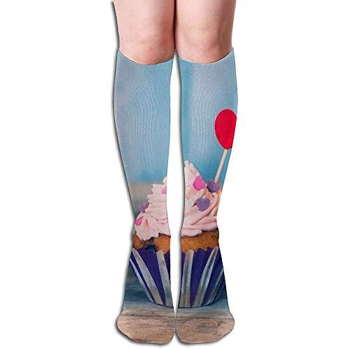 hdyefe Cupcake Socken Männer Frauen Athletic Socks Atmungsaktive Tab Socke Atmungsaktiv 50CM