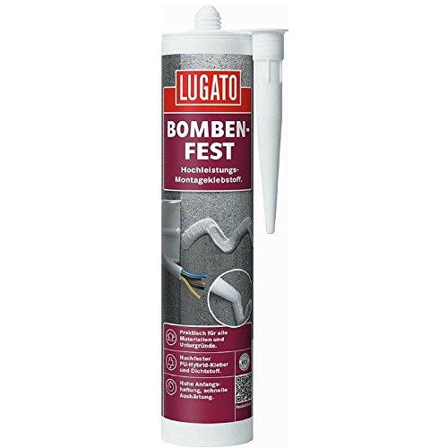 Lugato Bombenfest 480 g grau - Wasserfester PU-Montagekleber für Metall, Kunststoff, Holz