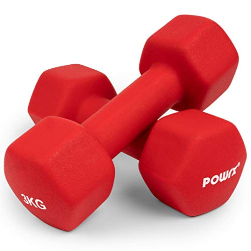 Sechskant Neopren Hanteln (Paar) inkl. Workout I 0,5 – 10 kg I Gewichte für Gymnastik Kurzhanteln (2 x 3 kg)