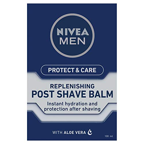 NIVEA MEN Protect & Care Post Shave Balm (100ml), Soothing After Shave for Men with Aloe Vera, Men's Skincare Essentials