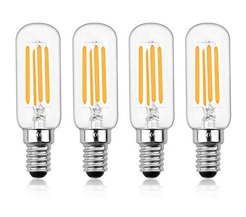 Bonlux E14 - Bombilla LED regulable, 4 W T25 220 V, filamento LED tubular, 40 W, equivalente a incandescente para horno de microondas, frigorífico y Hotte(lote de 4, blanco cálido 2700 K)