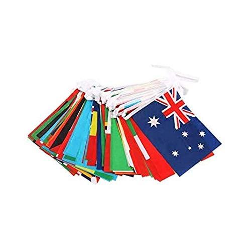 Amandaus Wimpelkette mit 100 Länderflaggen, für Olympische Spiele, Sportbars, Clubs, Partys, Events, Dekorationen