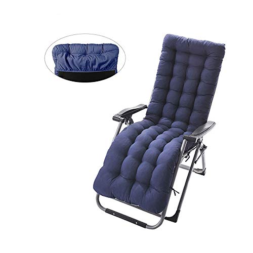 Cuscino Sdraio Imbottita Relax con Cappuccio Antiscivolo 170x53x7cm Cuscini Imbottito Lettino Universale Massaggio Eelastico da Soggiorno Salotto Sala Spiaggia Giardino (Blu)