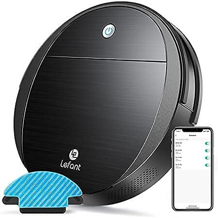 Lefant ロボット掃除機 3-in-1 吸引・床掃・床拭き三用 2200Pa 強力吸引小型お掃除ロボット「超薄型/予約清掃/静音/畳/段差乗り越え/自動充電/Alexa/WiFi/落下防止/衝突防止」M213型(ブラック)
