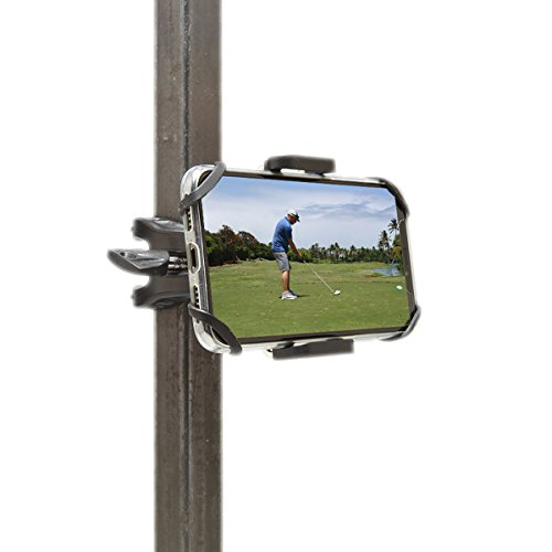 Golf Gadgets - Swing Recording System | Golf Cart or Pull Cart Mount for Smartphone. Compatible with iPhones, Samsung Galaxy, HTC, Any Phone. (Bar Mount)