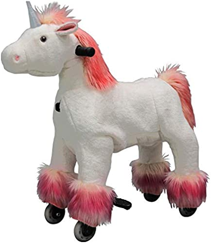 Eurohandisplay Reitpony auf Rollen Reitpferd beweglich Rollpferd Plüschpferd fürendes Pony Small 3-5 Jahre Medium 5-8 Jahre Large 8-99 Jahre (Weiß S-1 Einhorn Rosae M e,Schwanz& Huf)