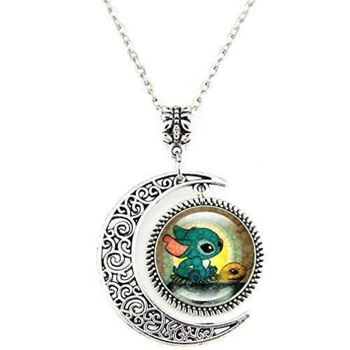 AIIGOU Moon Pendant Necklace Stitch and Turtle Necklace jewelry, Crescent Cartoon Necklace