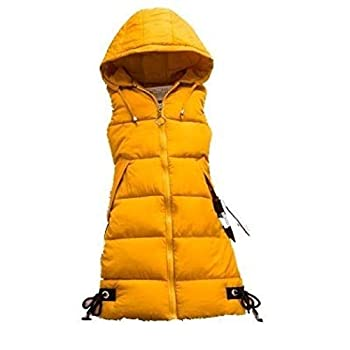 Women s Cotton Padded Hooded Casual Slim Fit Snap Closure Outwear Long Down Puffer Vest Jacke Yellow