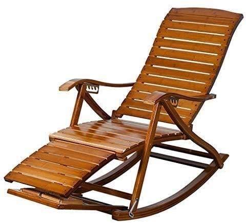 L&B-MR Silla mecedora de jardín con gravedad cero, silla mecedora de bambú, para el ocio, cinturón ancho, para el almuerzo, para tumbona, tumbona