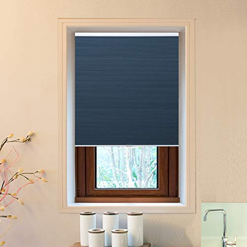 "Cellular Window Shades (Blackout) Cordless Room Darkening Blinds and Shades for Windows, Bedroom, Home (Blue 39"" W x 64"" H)"