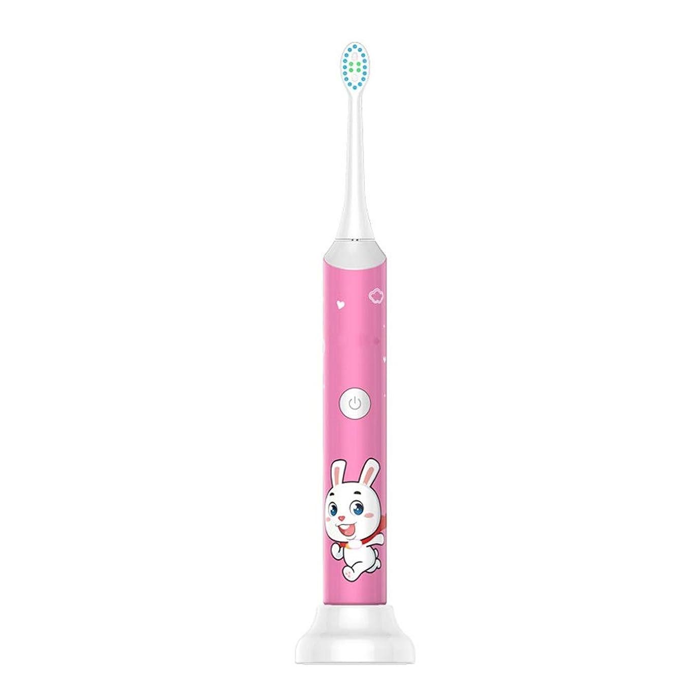 ファックス見落とすプロトタイプ子供の電動歯ブラシ防水USB充電ベースホルダー柔らかい毛の歯ブラシ歯科医推奨 完全な口腔ケアのために (色 : ピンク, サイズ : Free size)