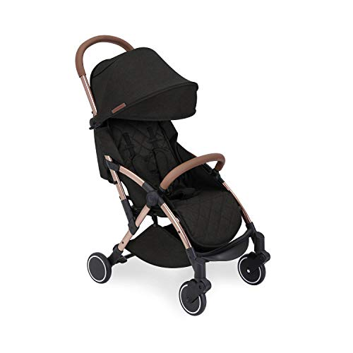 Ickle Bubba Globe Stroller   Ultra-Compact Travel Pushchair   from Birth to 3 Years   UPF 50 Hood, Rain Cover   Black on Rose Gold Frame