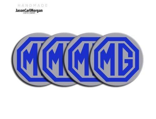 JasonCarlMorgan MG ZR LE500 Style Blue & Silver - Tapacubos de aleación para llantas (CLR57 mm)