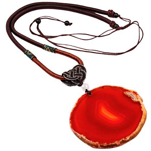 mookaitedecor Poliert Achat Stein Halskette mit Anhänger für Unisex, Amulett-Chakra-Stein Anhänger mit Kette verstellbar ca. 44-76cm