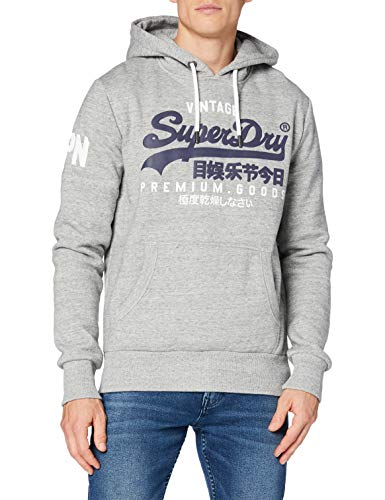 Superdry Mens VL NS Hood Hooded Sweatshirt, Grey Marl, X-Large