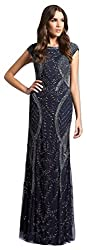 Navy Lara 33609 Long Beaded Patterns Design Dress