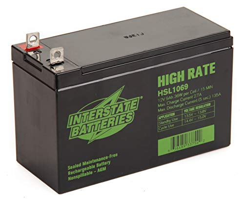 """Interstate Batteries Generac Generator Replacement Battery 0G9449 1/4"""" Nut and Bolt Terminals - 12V 9AH 36W - SLA Battery (HSL1069) Genuine Interstate Batteries"""