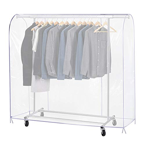 Growson Garment Rack Cover,6Ft Transparent Dustproof Clothes Cover with 2 Durable Full-Length Zippers, Waterproof Cover for Clothing Hanging Rack(71x20x42 inch)