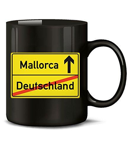 Golebros Mallorca Ortsschilld 5358 Urlaubs Auswanderer Fun Tasse Becher Kaffeetasse Kaffeebecher Schwarz