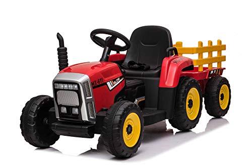 RIRICAR Tracteur électrique Workers avec remorque, Rouge, Traction arrière, Batterie 12V, Roues Plastique, siège Large, télécommande 2,4 GHz, Lecteur MP3 avec entrée USB +Bluetooth, lumières LED