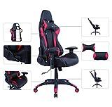 AmazonBasics - Sedia da ufficio e da Gaming, design Racing, in pelle PU, rosso