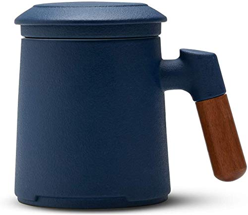 Tea Cups with Strainer and Lid, 400 ml (13.52oz), Stoneware, Glazed Ceramic Tea Cup with Rosewood Handle for Steeping Loose Tea (Blue)