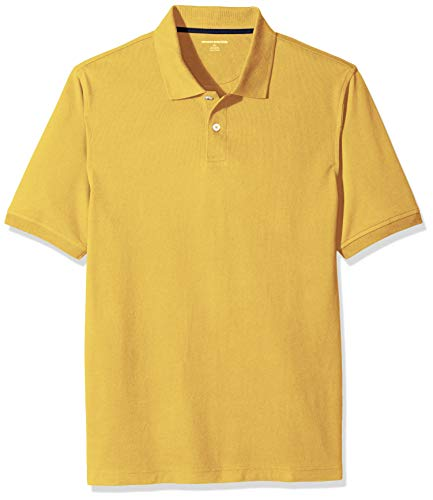 Amazon Essentials Men's Regular-Fit Cotton Pique Polo Shirt, Yellow, XX-Large