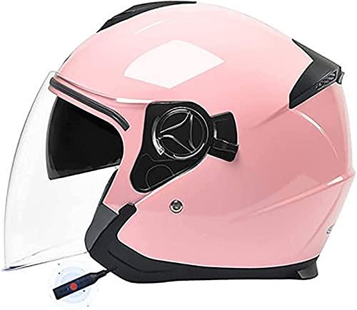 Casco Bluetooth De Cara Abierta Para Motocicleta Aprobado Por DOT - Moto Ciclomotor Jet Bobber Pilot Crash Chopper 3/4 Medio Casco Con Visera Para Hombres Adultos Mujeres - Negro Mate B1,54-59CM