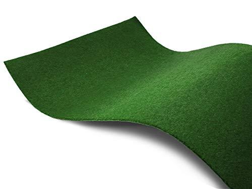 Rasenteppich ohne Noppen Meterware GARDEN B1 - Dunkel-Grün, 2,00m x 1,00m, Schwer Entflammbarer Indoor Kunstrasen Teppichboden für Innenbereiche