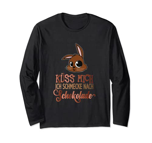 Maglietta con scritta in lingua tedesca 'Küss Mich cioccolato', divertente regalo di Pasqua Maglia a Manica