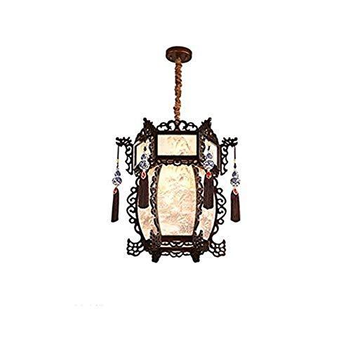 WY-YAN Luces pendientes, retro chino de madera sólida de la lámpara, lámpara del dormitorio, casa de té chino restaurante Hostel grabado hueco de la lámpara, Personalidad vivo creativo de luz ambienta
