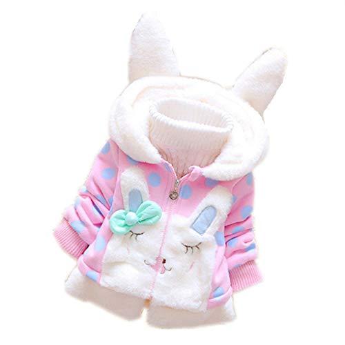 Patifia Baby Kinder Mädchen Winterjacke Kinder Jacken mit Kapuze Rabbit Ohren Mantel Jacke Süß Kleinkind starke warme Sweatjacke Fleecejacke Outdoorjacket (1-5 Jahre)