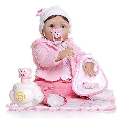 56CM Herboren Peuter Meisje Pop Full Body Zachte Siliconen 0-3M Echte Baby Grootte Bebe Pop Herboren Bad Speelgoed Anatomisch Correct