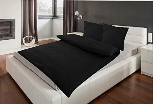 4-Teilige hochwertige Renforcé-Bettwäsche UNI-WENDE in schwarz einfarbig 2x 135x200 Bettbezug + 2x 80x80 Kissenbezug , 100{8fbab3a3657456bcff7fc85f131eecad2232cdbdf6f130b750ca1b22ce4cc95a} Baumwolle (Schwarz einfarbig)