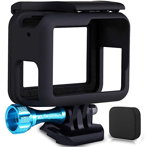MiPremium Frame Mount Housing Case for GoPro Hero 7 6 & 5 Black Silver & White. Cover Shell Cage Accessories Kit with Aluminium Screw & Quick Release Buckle Socket Accessory for Hero7 Hero6 Hero5