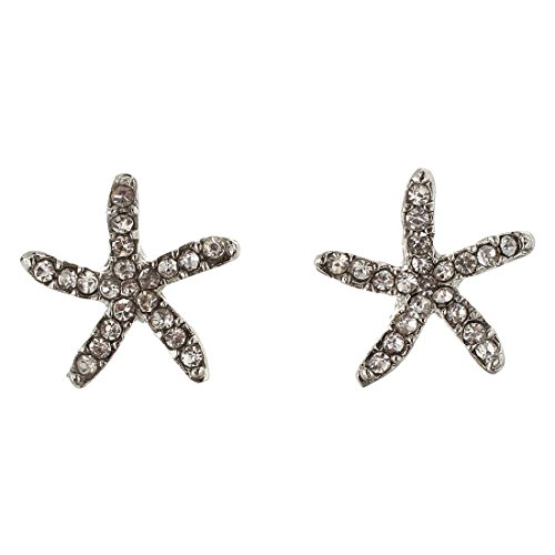 TOOGOO(R) Pendientes de flores, Pendientes de estrellas de mar, Pendientes embellecidos de diamantes falsos