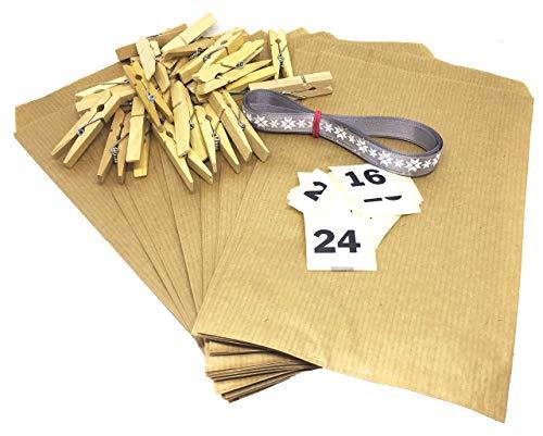 Adventskalender mit 24 Tüten DIY Set 12 x19 cm zum Befüllen inkl Adventskalenderzahlen Aufklebern in klassischem Design Kraftpapier