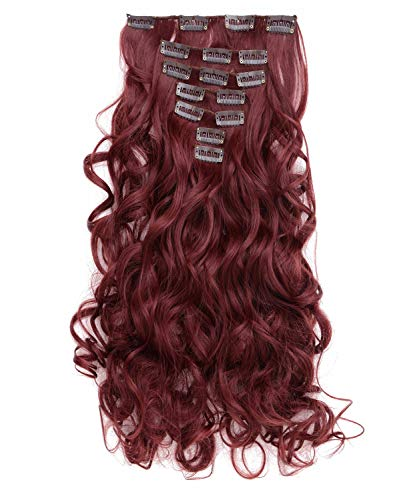 Curly Full Head Clip in Synthetic Hair Extensions (Wine red)