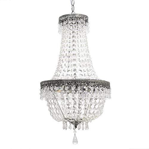 Inart - Lámpara de araña (acrílico, con 3 luces, 35 x 35 x 63 cm), color plateado