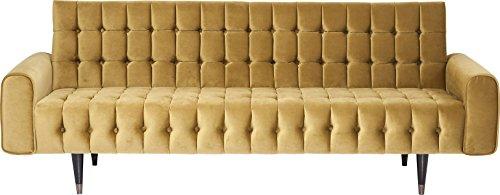 Kare Design Sofa Milchbar Velvet Honey 3-Sitzer, Senfgelbe samtige Sofabank mit Messingfarbenen Füßen im Vintagelook - (H/B/T) 83 x 233 x 86 cm