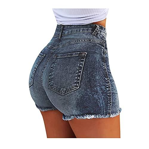Pantalones Cortos Mujer Vaqueros de Color Liso con Borlas Short Mujer Verano con Bolsillos Pantalón Cortos Suave y Cómodo Pantalones Cortos Transpirables Short Elegante Moda para Mujer
