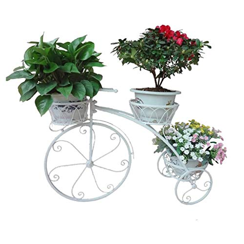 Kreatives Fahrrad Blumentreppe Blumenständer Metall Pflanzentreppe Pflanzregal Blumenregal für Innen-Balkon Wohzimmer Outdoor Garten Deko Leicht zusammenzubauen ( Color : White , Size : 83*55*24cm )